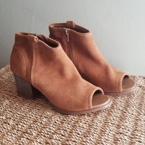 Brown peep toe booties